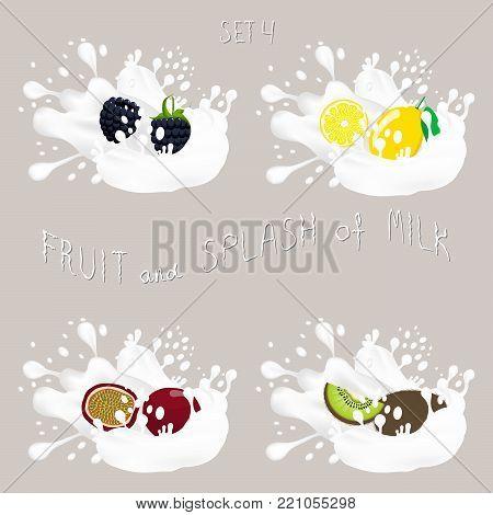 Vector icon illustration logo for kiwi, lemon, blackberry, passion fruit, splash of drop white milk. Kiwi pattern of splashes drip flow Milk.Eat sweet kiwis,lemons, blackberries,passion fruit in milks