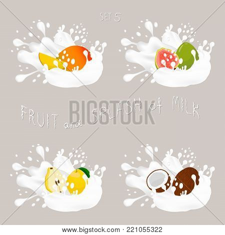 Vector icon illustration logo for fruit mango, guava, quince, nut coconut, splash of drop white milk. Nut pattern of splashes drip flow Milk.Eat fruits mangoes, guavas, quinces, nuts coconuts in milks