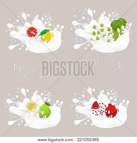 Vector icon illustration logo for fruit grapefruit, grape, pomelo, garnet, splash of drop white milk. Grapefruit pattern of splashes drip Milk. Eat fruits grapefruits, grapes, pomelos,garnets in milks
