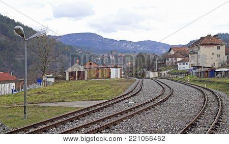 the railroad in city Visegrad, Bosnia and Herzegovina