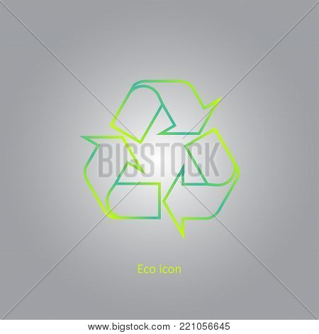 Vector simple eco related outline recycle icon. Isolated recycle design element in trendy gradient style. Eco concept for print or info graphic. Recycle or reuse concept.