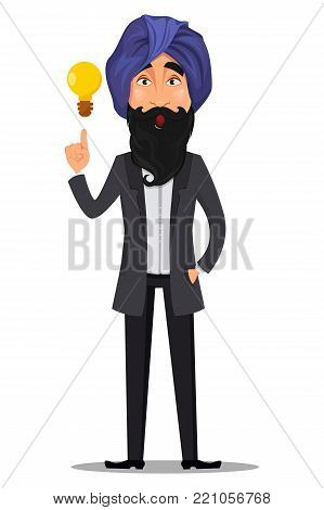 Indian business man cartoon character. Young handsome businessman in business suit and turban having and idea - stock vector