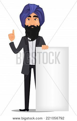 Indian business man cartoon character. Young handsome businessman in business suit and turban standing near blank placard - stock vector