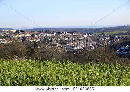 View of the community of Weissach in the country of baden-wurttemberg