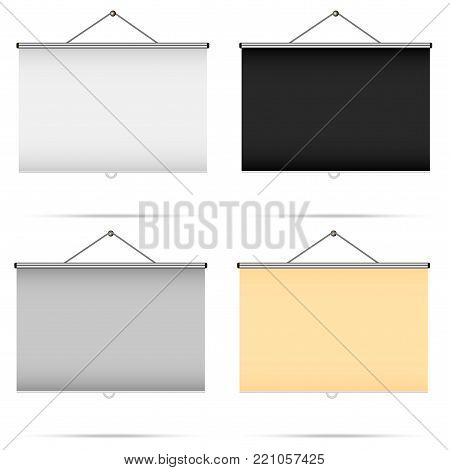 Blank realistic set of portable projection screens. Vector illustration .