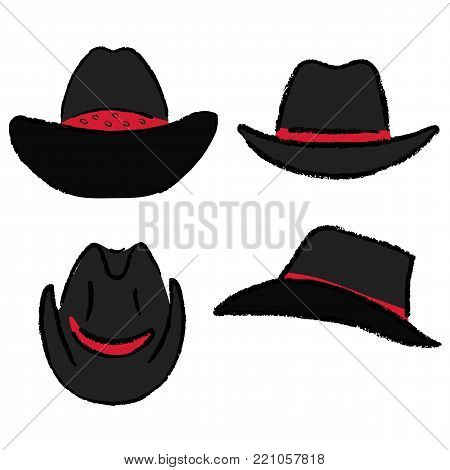 Cowboy hat outlined oil pastel template sketch (front, back, side views), vector illustration isolated on white background