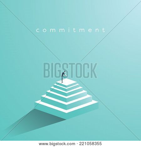 Businessman building steps vector concept. Symbol of determination, commitment, success, motivation, growth. Eps10 vector illustration. poster