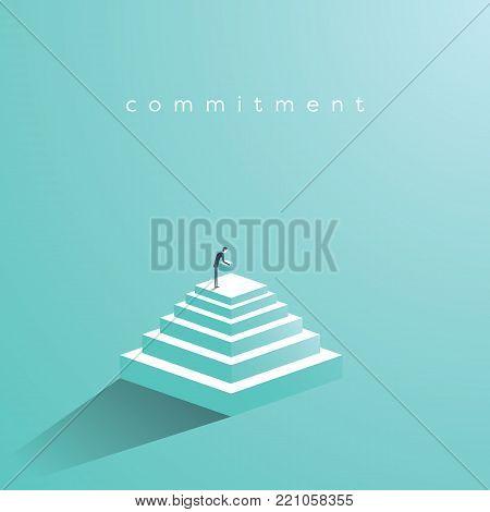 Businessman building steps vector concept. Symbol of determination, commitment, success, motivation, growth. Eps10 vector illustration.
