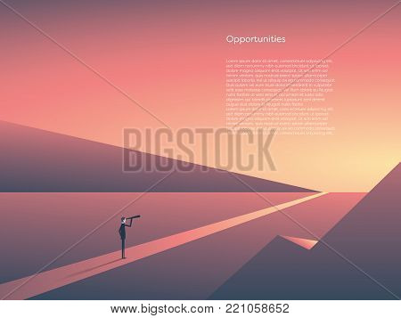 Business visionary vector concept with businessman visionary looking through telescope at horizon. Sunset landscape, symbol of opportunity, new beginning, start of career, job. Eps10 vector