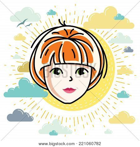 Beautiful women face, human head. Vector character, attractive redhead lady face features.