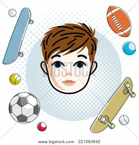 Cute boy face, human head. Vector redhead character, toddler face features, sport and entertainment clipart.
