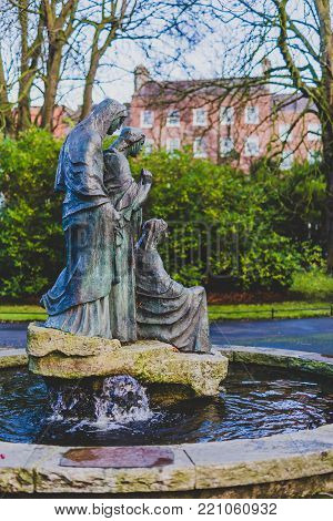 DUBLIN, IRELAND - January 6th, 2018: statue in Saint Stephen's Green park in Dublin city centre on a calm, overcast and cold winter day