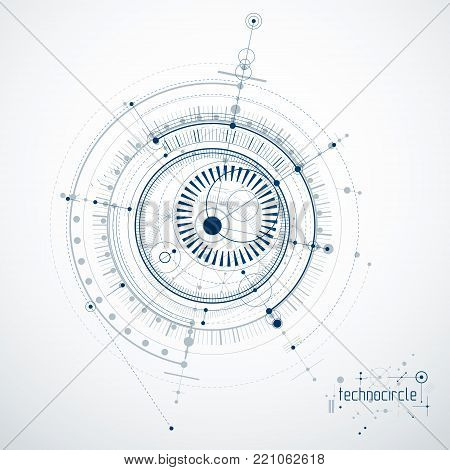 Mechanical scheme, vector engineering drawing with circles and geometric parts of mechanism. Technical plan can be used in web design and as background.