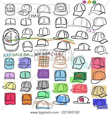 Baseball, tennis, rap cap outlined oil pastel template sketch (front view) and man head, vector illustration isolated on white background