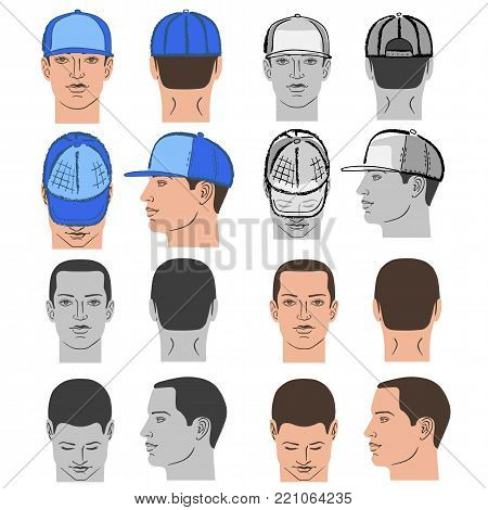 Baseball, tennis, rap cap outlined oil pastel template sketch collection (front, back and side views) and man head, vector illustration isolated on white background