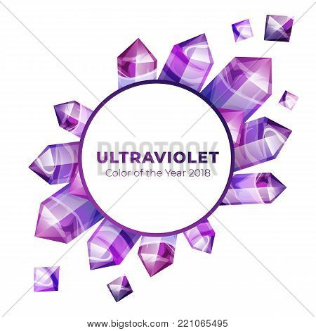 Ultraviolet amethyst gemstones design template. Vector backdrop of ultra violet gems on white isolated background. Boho magic crystals in trendy purple color of the year