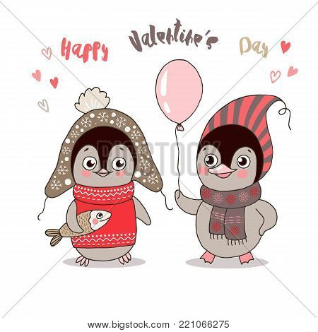 Two cute penguins fallen in love. Funny birds got dressed in warm clothes with fish and balloon on white background. Lovely crafted design for Valentine's Day, wedding, postcards and prints.