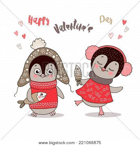 Two cute penguins fallen in love. Funny birds got dressed in warm clothes with fish on white background. Lovely crafted design for Valentine's Day, wedding, postcards and prints.