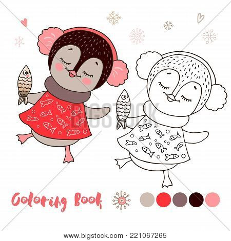 Vector illustration of cute little penguin girl in red dress with ear muffs and fish in cartoon style, linear drawing. Black and white, colorful images, be used for coloring book.