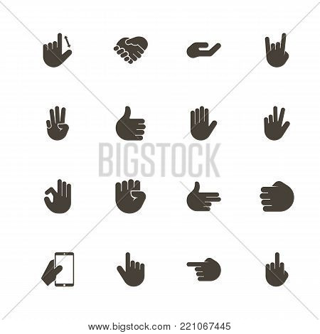 Hands icons. Perfect black pictogram on white background. Flat simple vector icon.
