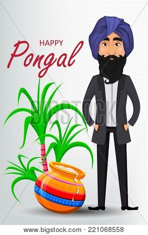 Indian sikh man in turban standing near pot and sugarcane. Happy Pongal greeting card. Makar sankranti. Vector illustration on white background.