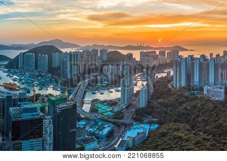 Panoramic Aerial View Of A Stunning Sunset Over Aberdeen And Ap Lei Chau District Of Hong Kong