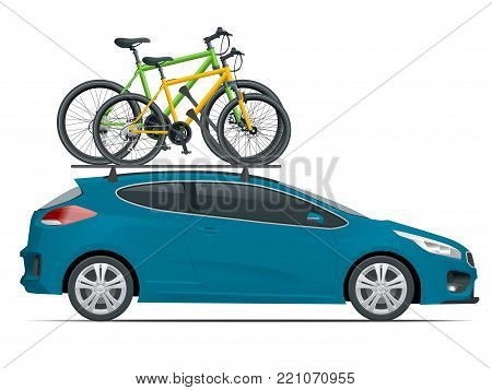 Side view station wagon car with two bicycles mounted on the roof rack. Flat style vector illustration isolated on white background