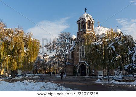 SOFIA, BULGARIA - NOVEMBER 29, 2017:  Sunset view of Church Sveti Sedmochislenitsi  in city of Sofia, Bulgaria