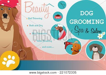 A vector illustration of Dog Grooming Salon Poster
