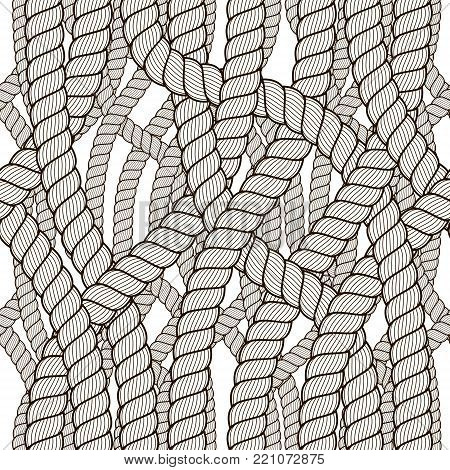 Seamless pattern rope woven vector, abstract illustrative background. Tangled cord stylish illustration. Usable for fabric, wrapping, web and print.