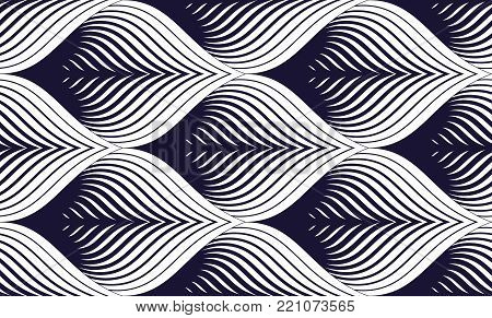 Seamless geometric pattern. Geometric simple fashion fabric print. Vector repeating tile texture. Roof tiling or fish squama shapes motif. Single color, black and white. Usable for fabric, wrapping, web and print.