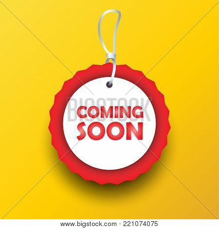 Coming soon label, gift tag decorative modern frame, sticker, logo ement, under construction icon for advertising website, sale, promotion flyer, brochure design vector banner unique tag sign template.