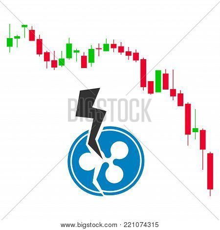 Candlestick Chart Ripple Crash flat vector pictograph. An isolated icon on a white background.