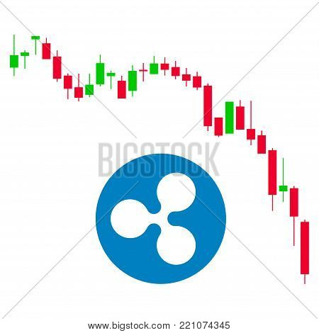 Candlestick Chart Ripple Fall flat vector pictograph. An isolated icon on a white background.