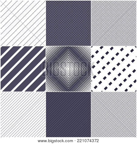 Minimal lines vector seamless patterns set, abstract backgrounds collection. Simple geometric designs. Seamless lines vector minimalistic arts. Crossed lines grid, diagonal lines, dashed lines, dotted ornaments.