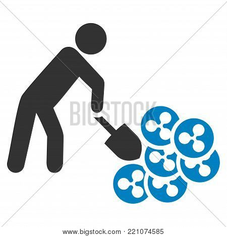 Person Digging Ripple flat vector pictograph. An isolated icon on a white background.