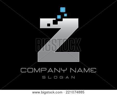 techno letter Z on a black background