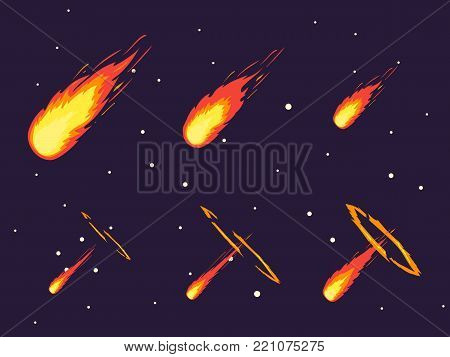 Cartoon Fall Comet or Meteorite Effect Stages Set on a Dark Sky Element Decoration Flat Style Design. Vector illustration