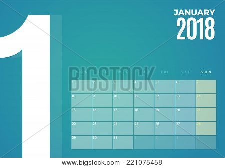 Desk January 2018 Calendar. Vector schedule planner template design