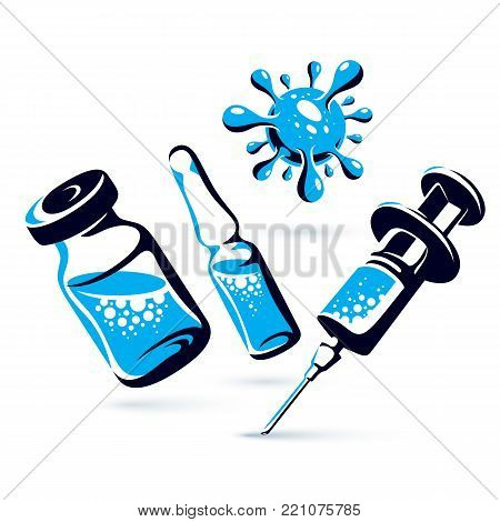 Vector graphic illustration of vial, ampoule with medicine and medical syringe for injections. Scheduled vaccination theme.