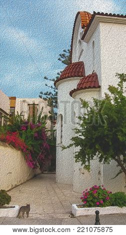 Greece, Crete island. Rethymno, old town. A wall of the Church of Agios Nektarios (XXth centure). Bright sunny day, a walking cat, bouganvillea bush, blue sky. Digital oil painting imitation