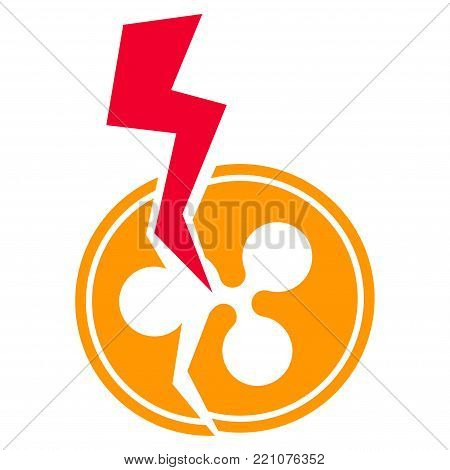 Ripple Crash Lightning flat vector pictograph. An isolated icon on a white background.