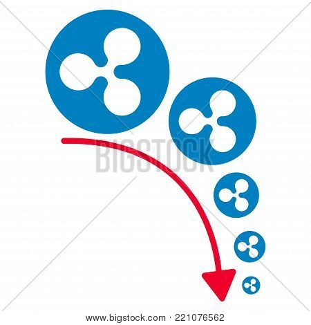 Ripple Deflation Trend flat vector pictograph. An isolated icon on a white background.