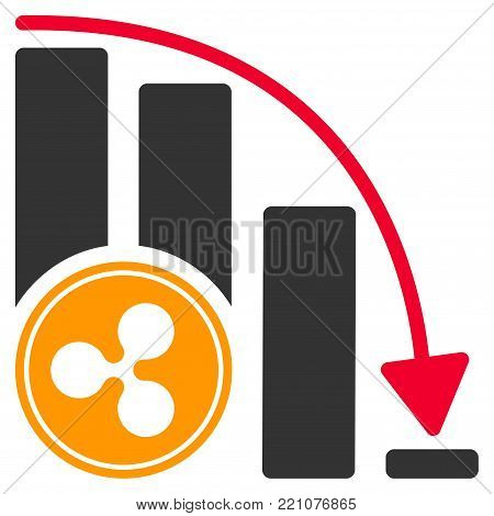 Ripple Falling Acceleration Chart flat vector icon. An isolated icon on a white background.