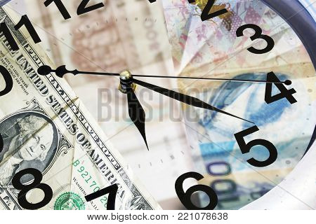 Time Is Money Concept. Large Wall Clock With A Financial Background.