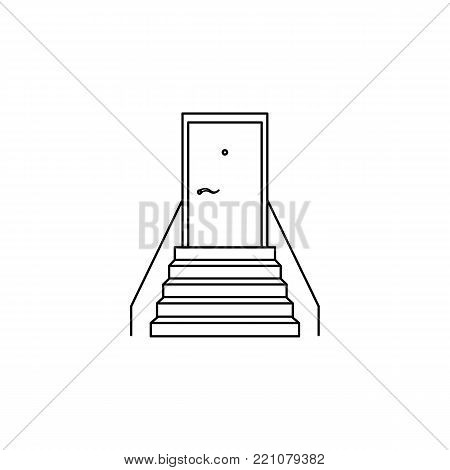 staircase with a door icon. Stairs in our life Icon. Premium quality graphic design. Signs, symbols collection, simple icon for websites, web design, mobile app on white background