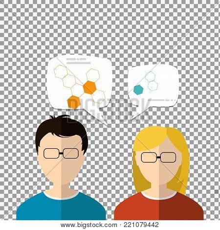 Sciencetist flat icons on transparent background. - stock vector