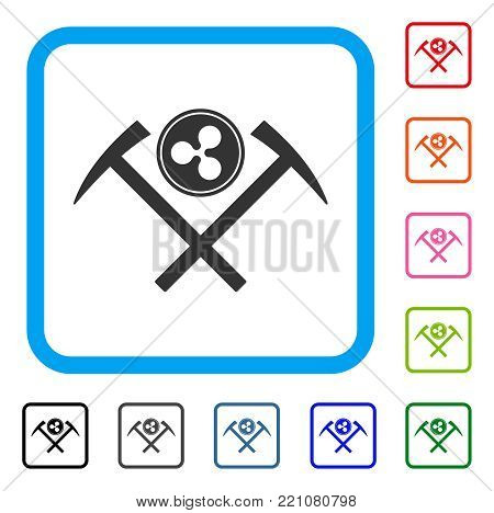 Ripple Coin Mining Hammers icon. Flat gray iconic symbol inside a blue rounded square. Black, gray, green, blue, red, orange color additional versions of Ripple Coin Mining Hammers vector.
