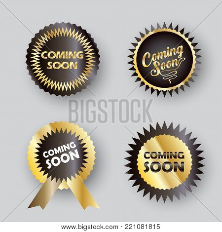 Coming soon labels set, decorative modern gold round frames, stickers, logo ement, under construction icons for website, sale, promotion flyer, brochure design vector banner unique tag sign template.