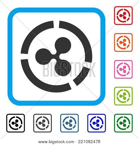 Ripple Diagram icon. Flat grey iconic symbol in a blue rounded square. Black, gray, green, blue, red, orange color versions of Ripple Diagram vector. Designed for web and application user interface.